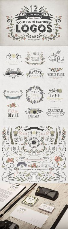 The Hand Drawn Logo Trio (and Bonus Decorative Elements) - Only $19…