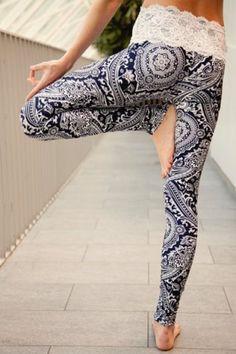 Vintage Abstract Printed Lace Spliced High Waist Leggings For Women Leggings | RoseGal.com Mobile