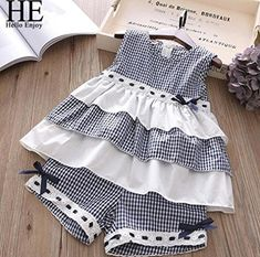 HE Hello Enjoy Summer Girls Clothes Sets Children's Clothing Fashion Girl Shirt Top+Striped Shorts Suits 2018 Kids ClothingAdorable Toddler And Junior Girls Fashion Two Piece Outfits In Multiple Styles- March 24 2019 atMagda Faber's media content and Baby Girl Dress Patterns, Little Dresses, Little Girl Dresses, Girls Dresses, Fall Dresses, Toddler Dress, Toddler Outfits, Baby Dress, Girl Outfits