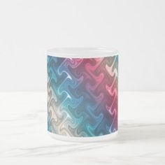 Red White and Blue Pattern Frosted Glass Coffee Mug - patterns pattern special unique design gift idea diy