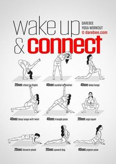 Wake Up Connect Workout Concentration - Full Body - Difficulty 4 - Suitable for . Wake Up Connect Workout Concentration - Full Body - Difficulty 4 - Suitable for Beginners --> zum optimalen Yoga Equ Yoga Fitness, Fitness Workouts, Training Fitness, At Home Workouts, Health Fitness, Fitness Motivation, Yoga Workouts, Fitness Diet, Pre Workout Stretches