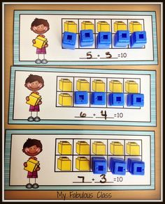 Math Centers with unifix cubes. You can use them all year in kindergarten. They teach Common Core included addition, subtraction with sums of five, sums of number sense, comparing numbers, comparing quantities. Kindergarten Reading Activities, Preschool Math, Math Classroom, Fun Math, Numeracy Activities, Number Activities, Kindergarten Centers, Classroom Ideas, Math Stations