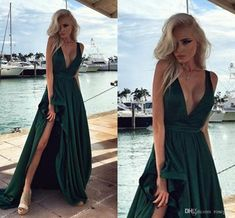 Elegant Long Prom Dresses Hunter Green Side Split V Neck Backless Evening Gowns 2016 Satin Vestido De Festa Party Dress Split Evening Dresses Prom Dresses 2016 Backless Evening Gowns Online with $196.84/Piece on Rosegirls's Store | DHgate.com