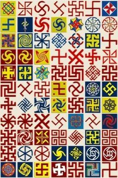 A collage of variations on the swastika as a symbol of the sun from many different world cultures.