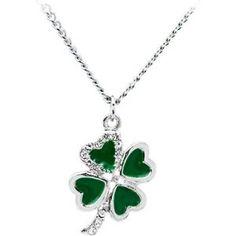 Jeweled Heart Shamrock Pendant - Shamrock Necklaces: Gifts for St. Patrick's Day