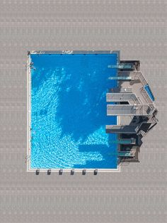 Above the diving boards