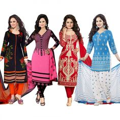 4aa30fd6f7 Buy Pack of 4 Printed Cotton Dress Material at Rs. 1699- Get latest Combo