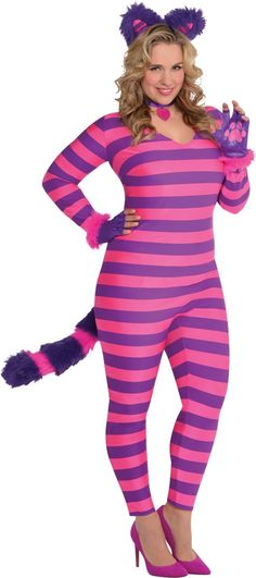 Adult Lady Cheshire Kitty Cat Costume Plus Size - Party City  sc 1 st  Pinterest & 25 Plus Size Halloween Costumes (That Donu0027t Suck) | Cats Shopping ...