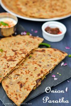 Punjabi Onion Paratha Recipe(With Video) North Indian Recipes, Easy Indian Recipes, South Indian Food, Asian Recipes, Vegetarian Snacks, Good Healthy Snacks, Easy Baking Recipes, Cooking Recipes, Snacks Recipes