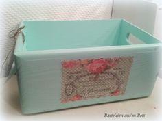 Holzkiste Holzbox Vintage Utensilo mint von Basteleien aus'm Pott auf DaWanda.com http://de.dawanda.com/product/62776283-Holzkiste-Holzbox-Vintage-Utensilo-mint#product_gallery