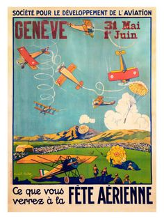 Poster fete aerienne - Geneve