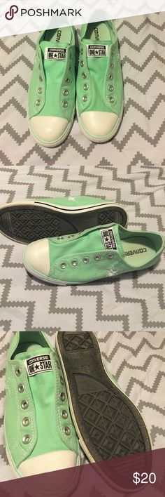 Laceless Converse shoes, never worn size 7.5 Never worn women's mint green, white, and grey Converse shoes. Size 7.5 (or 38.5 EUR). These are LACELESS (they do not require laces and are not meant to be laced) Converse Shoes Sneakers