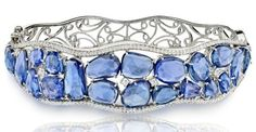 Haridra Jewelry blue sapphire scattered bangle bracelet