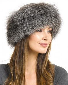 da757c84d21 Samantha Silver Fox Fur Roller Hat with Leather Top. Top PWinter Hats For  WomenFox ...
