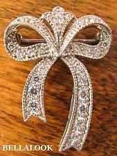 ESTATE MARKED 925 STERLING SILVER WITH CLEAR CZ FIGURAL BOW BROOCH PIN 6.4g