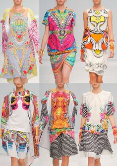 Flashback to Paris Fashion Week Spring/Summer 2014 - Manish Arora S/S Placement Layouts – Kitch Motifs – Kaleidoscope Pattern build ups – Symmetrical arrangements – Art Deco Jewelled Prints – Geometric. Fashion Week, Love Fashion, Runway Fashion, Fashion Art, High Fashion, Fashion Show, Fashion Design, Milan Fashion, Mode Baroque