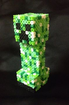FREE SHIPPING: 3D Creeper (Minecraft) Perler Bead on Etsy, $8.00