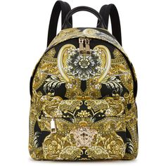Versace Barocco-print Nylon Backpack ( 1,220) ❤ liked on Polyvore featuring  bags, bababcfa2a