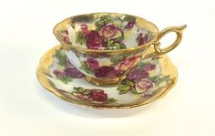 Norcrest Japan Cup Saucer Set Finne China Red Roses Pink Roses