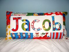 Dr Seuss/ Cat in the Hat Custom Name Pillow by NamelyPillows, $35.00    I so want this for Elijah's toddler bed!!! Just ordered my nephews Super Mario ones for their birthdays:)