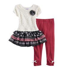 a52f76e096 Toddler Girl Blueberi Boulevard Ruffled Tiered Skirt Sweater Dress   Bow  Leggings Set