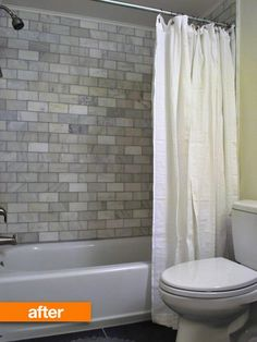 This bathroom seems similar to our current basement one - don't think I'll do the marble tile, but I like the other changes (Vanity, round mirror, dark floor tile)