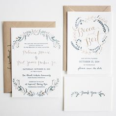 Soft floral blooms create a whimsical crown around this invitation's delicate calligraphy. Simple kraft paper envelopes complete the look./