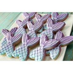 """Mermaid tail cookies for a birthday today! Cutter by @trulymadplastics #thepinkmixingbowl #birthdaycookies #houstoncookies #decoratedcookies…"""