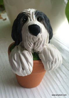 Blue Bearded Collie Dog Polymer clay sculpture by Amy by FarOutArt, $45.00