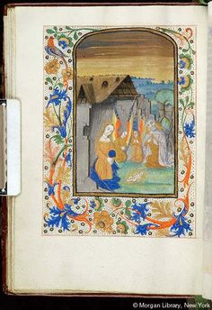 Book of Hours, MS S.1 fol. 29v - Images from Medieval and Renaissance Manuscripts - The Morgan Library & MuseumChrist: Nativity -- Virgin Mary, with rays as nimbus, kneels with joined hands before nude infant Christ Child, emanating rays, laying on ground. Beside Mary kneel two angels, with joined hands, and Joseph the Carpenter, with hands raised. Ruined shed with thatched roof in background. Margins with vinescroll and floreate ornament, inhabited by bird.