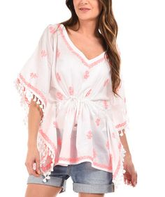 Look what I found on #zulily! White & Pink Sheer Embroidered Tie-Waist Cape-Sleeve Tunic #zulilyfinds