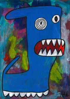 """""""sexy blue monster"""" Art Brut / Outsider Art from german artist Ivan Summersky (www.ivansummersky.com)"""
