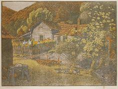 Print of the Day!! Thursday, October 20, 2016 American printmaker Gustave Baumann (1881-1971); Wash Barnes Cabin; 1912/14. Another example of some of the prints we will be bringing to the NY Satellite Print Fair at the Bohemian Hall in New York City between November 4 and 6, 2016, during  Print Week and the IFPDA Print Fair.