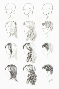 Drawing tutorial tutorials curly straight short hair styles