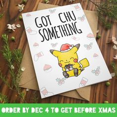 PIKACHU CHRISTMAS CARD Love Pokemon go greeting card  by ecolorty