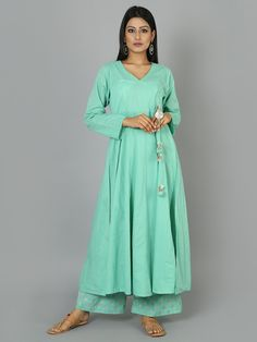 Mint Green Cotton Anarkali