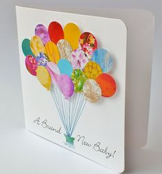 Handmade 3D Personalised New Baby Card - Baby Balloons Card