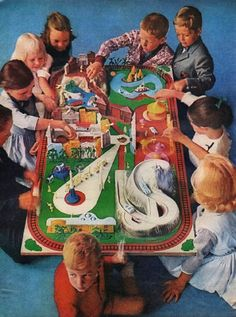 "1961 SEARS vintage magazine advertisement ""Why children love Sears"" ~ Why children love Sears -- and Sears loves children - Toys like this wonderful model of Disneyland ($9.98) are the reason why boys and girls love Sears. Why not take your ..."