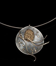 Necklace | Jaesun Won.  Oxidized sterling silver, 14k yellow gold, diamond