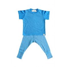 """Go Gently Baby :: 100% organic jersey tee w/ gray contrasting stitch along center sleeve. Paired with organic cotton/heather gray stripe jersey trouser with fly & 3"""" cuff.We love these sets because the top & bottom can be worn together or paired with other pieces in his wardrobe! Easy fitting & comfortable.  100% Organic Cotton (Jersey)  Fit: top: true to size  #Kidsfashion #OrganicClothing #ShopBelle"""