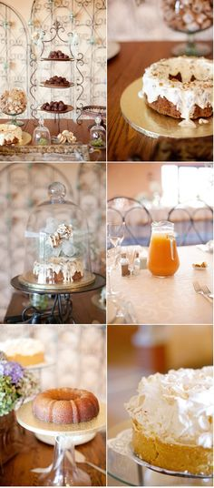 Tea room style dessert table for a laid-back vintage wedding x