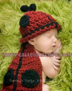 Ladybug - Cuddle Critter Cape Set  - Newborn Photography Prop. by Calleigh's Clips and Crochet Creations  #CalleighsClips