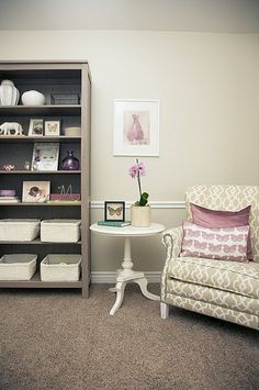 re-purpose bookshelf for nursery... maybe add curtains to keep dust out!