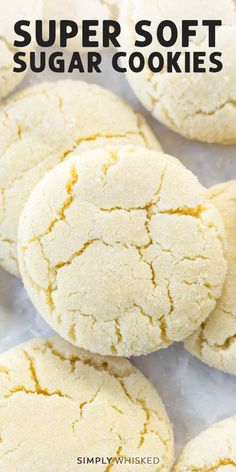 Amish Sugar Cookies, Chewy Sugar Cookie Recipe, Soft Sugar Cookies, Cookies Et Biscuits, Cream Cookies, Cake Cookies, Cookies With No Butter, Coconut Oil Cookies, Sugar Cookie Recipe With Shortening