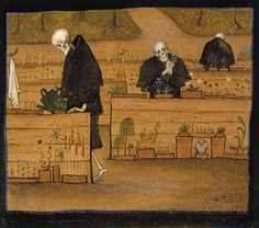 The Garden of Death. The Garden of Death (watercolor and gouache) by Hugo Simberg. Death and the Afterlife by Cliff Pickover Classical Art, Art Prints, Art Museum, Fine Art, Painting, Illustration Art, Art, Macabre, Dark Art
