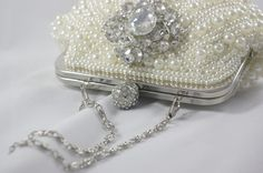Pearl Bridal Clutch Ivory Pearl Shell Clutch by TheOmbreMouse Bridal Clutch, Wedding Clutch, Bridal Handbags, Handmade Clutch, Ivory Pearl, Bare Foot Sandals, Evening Bags, Swarovski Crystals, Pearl Bridal