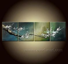 Framed High Quality Hand-painted Group Wall Decor Modern Cherry Blossom Flower Art Oil Painting On Canvas