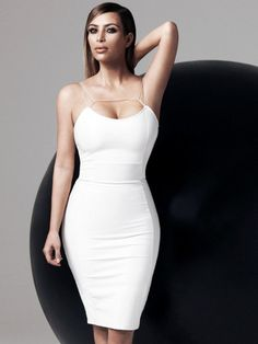 Dress: white kim kardashian bodycon party sexy sexy  all white everything classy clubwear straight