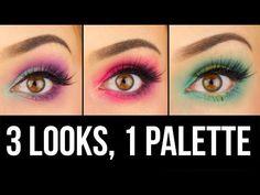 glitter eye makeup 3 Eye Makeup Looks, 1 Drugstore Palette! Drugstore Eyeshadow Palette, Pink Eyeshadow Look, Bright Eye Makeup, Makeup For Brown Eyes, Copper Eye Makeup, Halo Eye Makeup, Glitter Eye Makeup, Smokey Eye Makeup, Nyx Brights Palette
