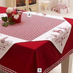 Red checkered Christmas table cover decorated with reindeer, fir trees and hearts.Christmas Check Tablecloth in placemats and table linen at LakelandThe Christmas Check out Tablecloth product has been discontinued.Christmas table cloth with red check Christmas Sewing, Christmas Projects, Christmas Quilting, Christmas Time, Christmas Thoughts, Christmas Lights, Christmas Table Cloth, Christmas Decorations, Christmas Placemats